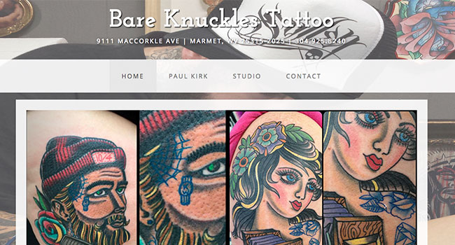 Bare Knuckles Tattoo Website Home Page Image 650x350
